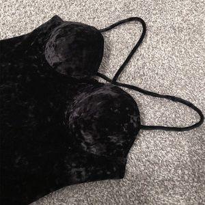 Black Crushed Velvet Bustier Gown